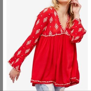 Free People bell sleeve embroidered tunic sz M